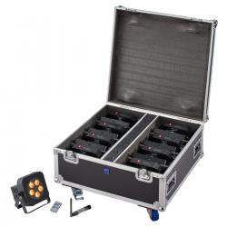 SET 8 PAR A BATTERIA SOUNDSATION PAR-18W-5-BW RGBWA+UV CON FLIGHT CASE E WDX100