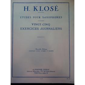 H.Klosè – exercise journaliers pour saxophones