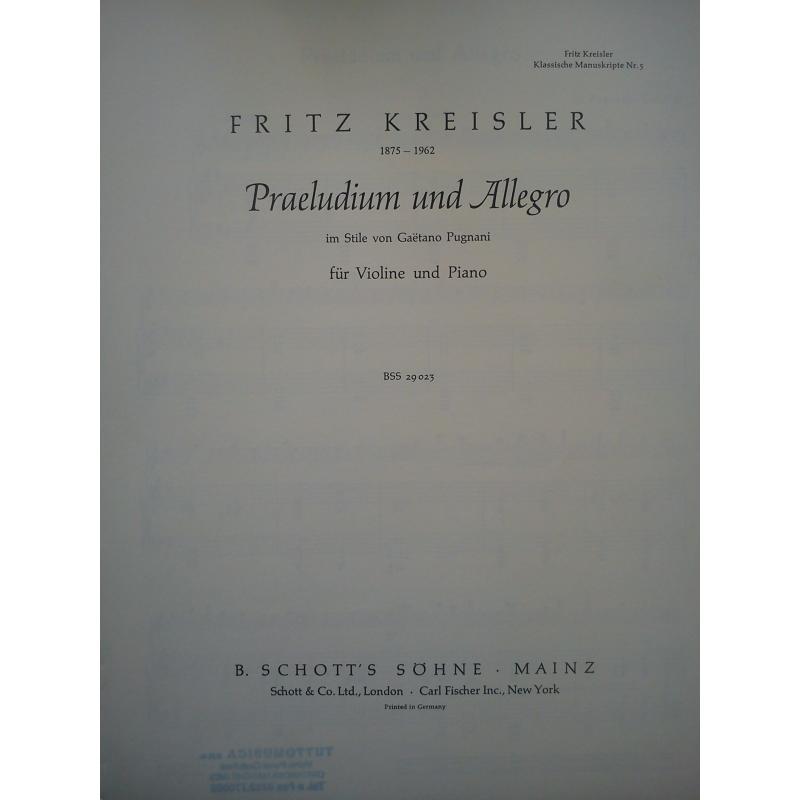 Kreisler - preludium und allegro