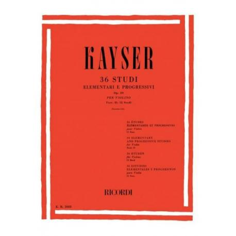 Heinrich Ernst Kayser - 36 Studi per Violino (Op. 20). Fascicolo 2 (12 Studi)